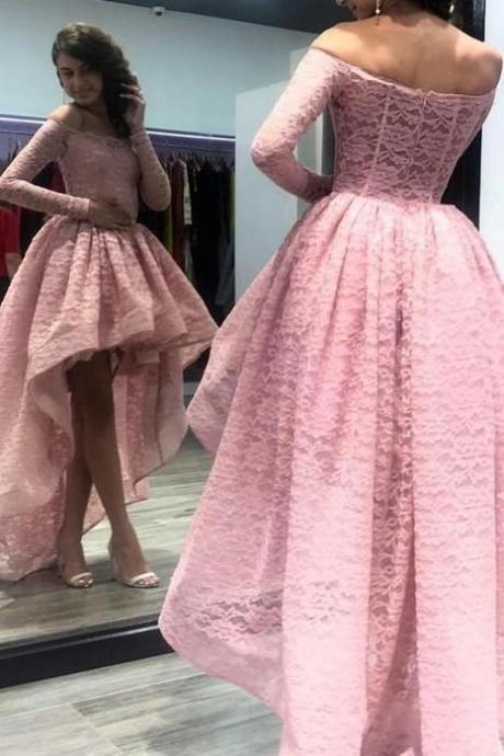 Long Sleeves evening dress Pink Lace Prom Dress with Short Front Skirt