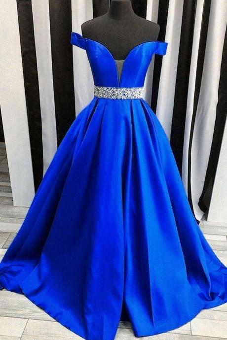 Off-the-shoulder party dress Royal Blue Evening Dress with Rhinestones Belt