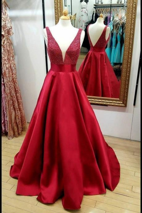 Red Satin party dress Bead Evening Dresses with Plunging V-neckline prom dress