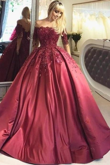 Illusion Long-Sleeve party dress Burgundy Evening Ball Gown Beaded Skirt lace prom dress