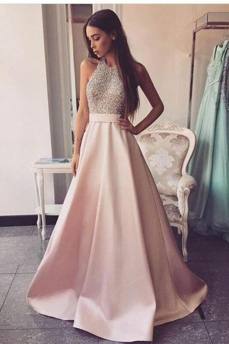Rhinestones evenin dress Halter Prom Dress with Satin Skirt backless pink party dress