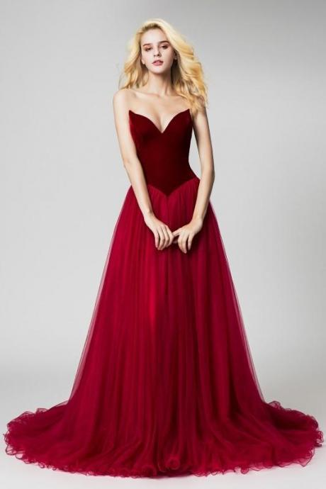 Burgundy evening dress Velvet Evening Dresses with Tulle Skirt strapless party dress