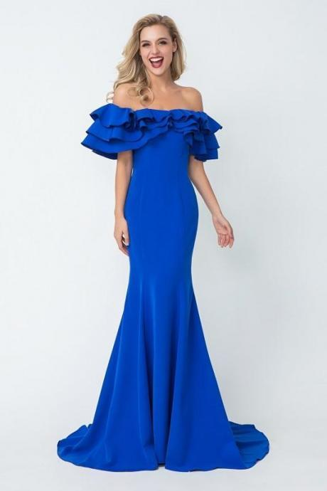 Flounced Off-the-shoulder party dress Blue Evening Dresses with Mermaid Skirt