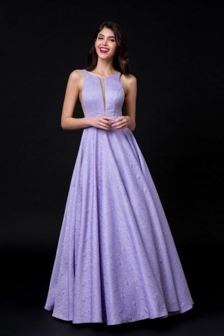 Illusion Insert Lavender prom dress Lace Evening Dress Backless party dress
