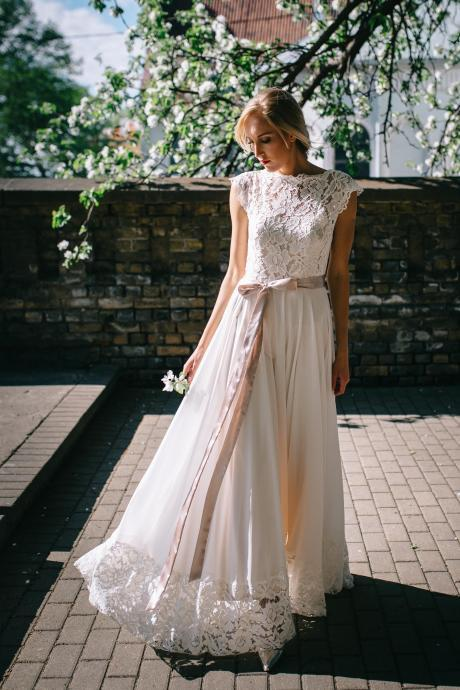 Chiffon Boho Wedding Dress with Lace Top and Hemline sleeveless prom dress
