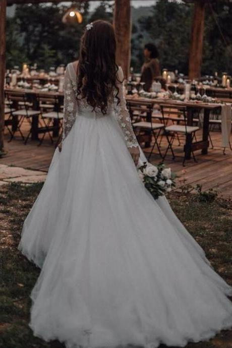 Long Sleeves Tulle Wedding Gown with Sheer Scoop Neckline long sleeves white wedding dress