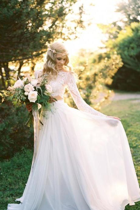 Lace Separates Two Piece Wedding Dress with Chiffon Skirt long sleeve wedding dress