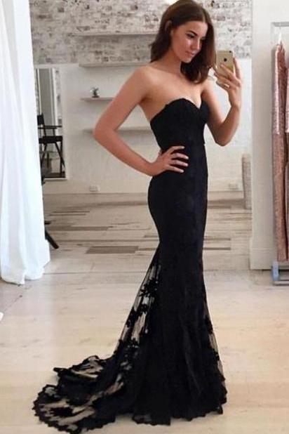 Black mermaid prom dresses, Lace Prom dresses, long prom dresses, Black Bridesmaid dresses