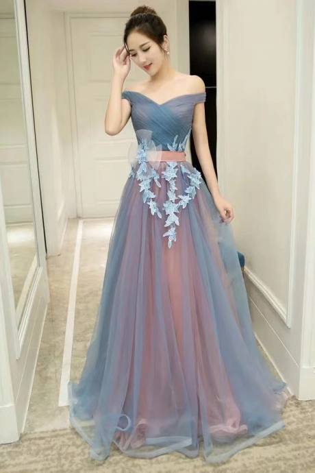 Blue card-shoulder off-the-shoulder dress, sexy tulle lace applique dress, party dress