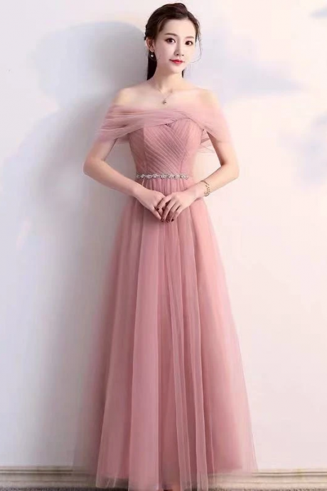 Lotus root powder color card shoulder dress, pink tulle long style party dress, formal ball dress