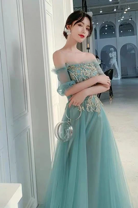 Elegant lake blue card-shoulder dress.Sexy off-the-shoulder lace applique dress, green tulle long party dress