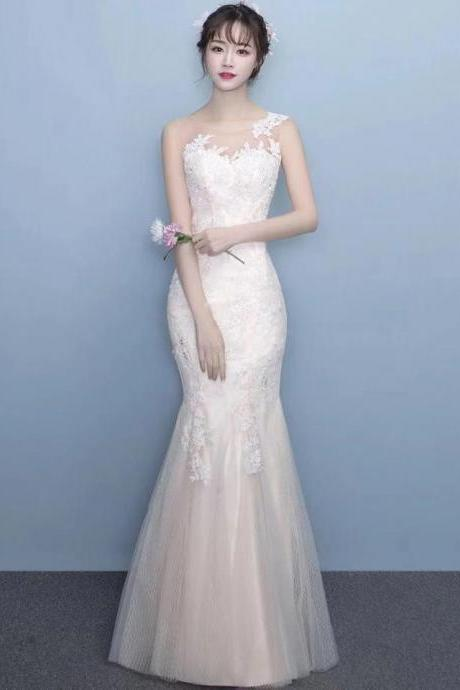 Elegant slim-fitting fishtail dress, sexy white lace hem long style dress, formal party dress