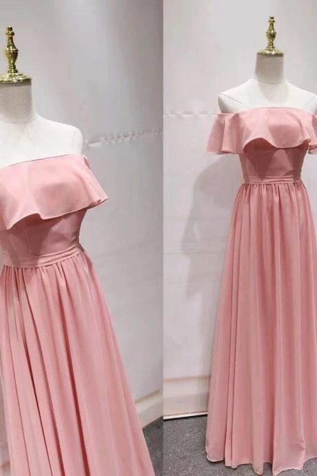 Sexy chiffon off-the-shoulder pink dress, long style card shoulder flounce edge wipe the chest dress
