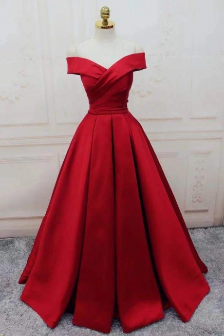 Sexy off-the-shoulder red dress, long red card strapless dress, formal banquet evening dress