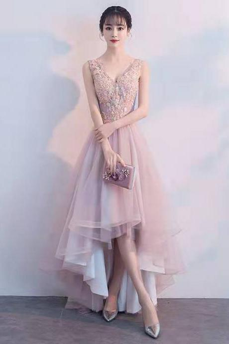Sexy pale pink v-neck dress, lovely sleeveless lace hem dress, tulle high-low dress