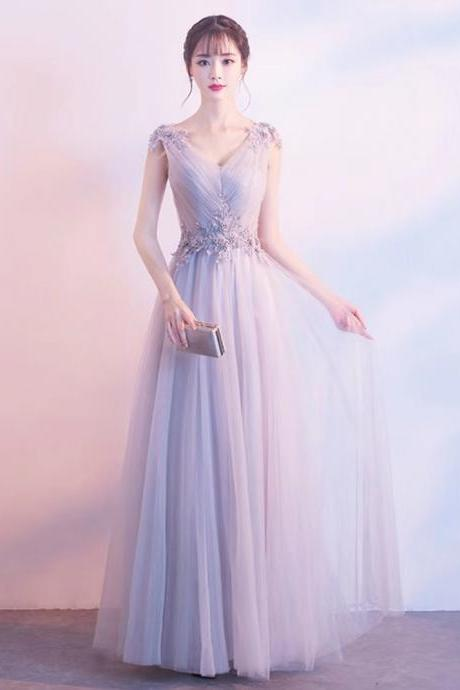 Sexy pale pink v-neck gown, elegant sleeveless lace lace hem gown, tulle long style party dress