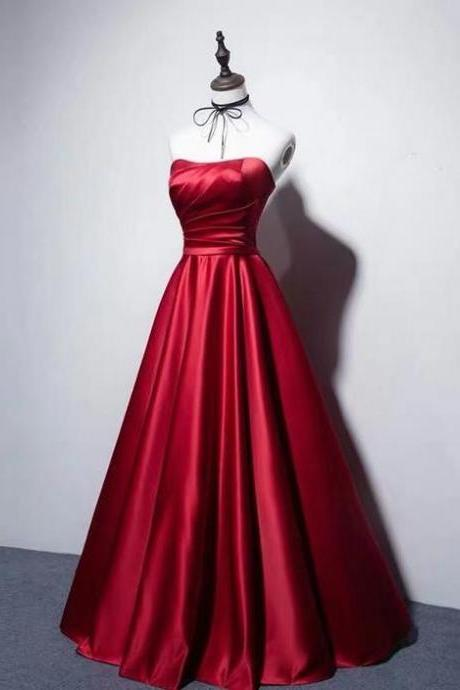 Sexy red strapless dress.Red card shoulder waist collection party dress.A formal party dress