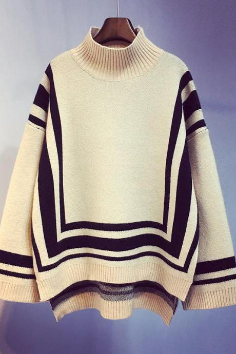 Turtleneck front short back slit sweater women fall and winter new loose sweater coat top