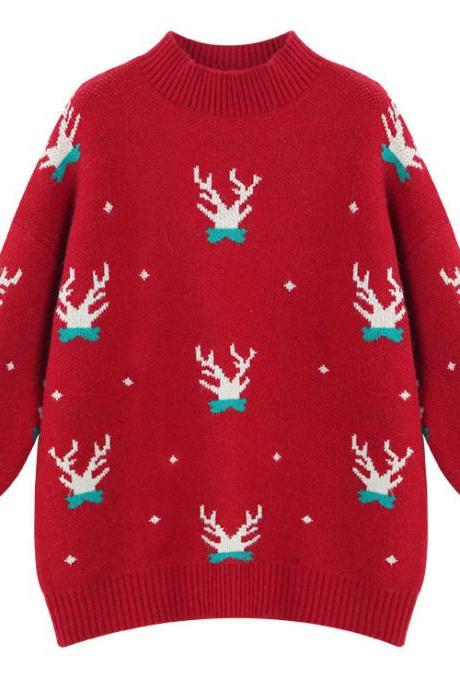 New Christmas Moose loose-fitting half-turtleneck sweater for women