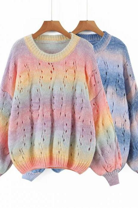 Two-color tie-dyed rainbow women's sweater top for fall 2020