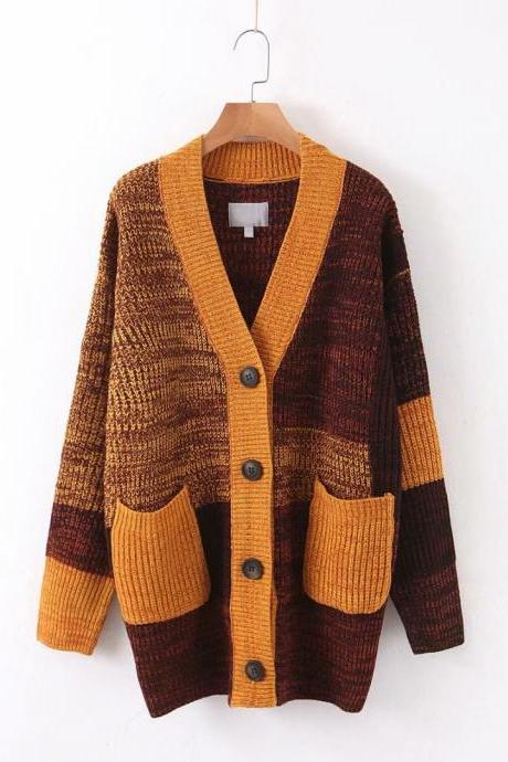 Monochrome knit long casual cardigan jacket