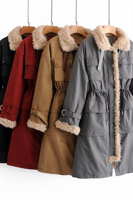 New loose medium long lamb wool padded coat