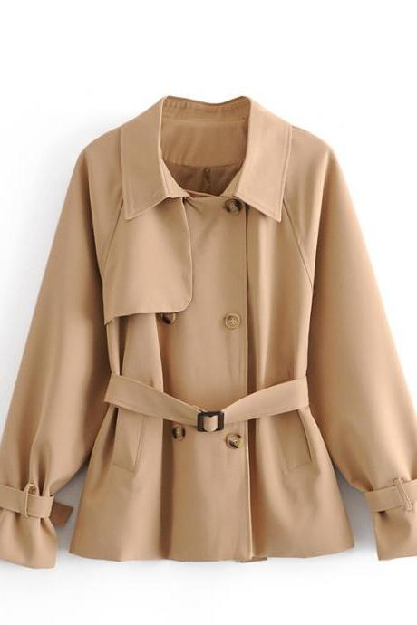 Autumn/winter classic British style double breasted loose and short women's trench coat