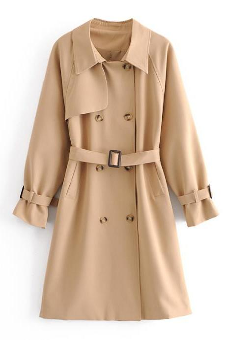 British style classic double - breasted loose medium - length trench coat