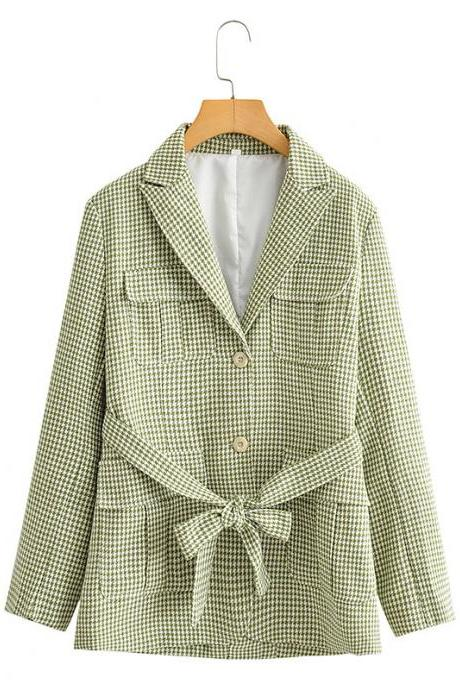 Small fragrance wind green plaid suit jacket