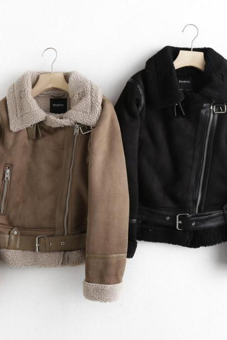 fur integrated suede suede padded jacket short motorcycle jacket lamb wool coat for women