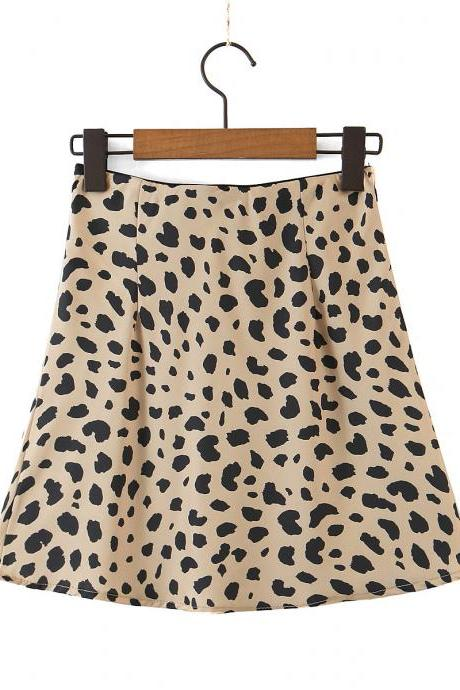 Fall sexy leopard print mini skirt skirt