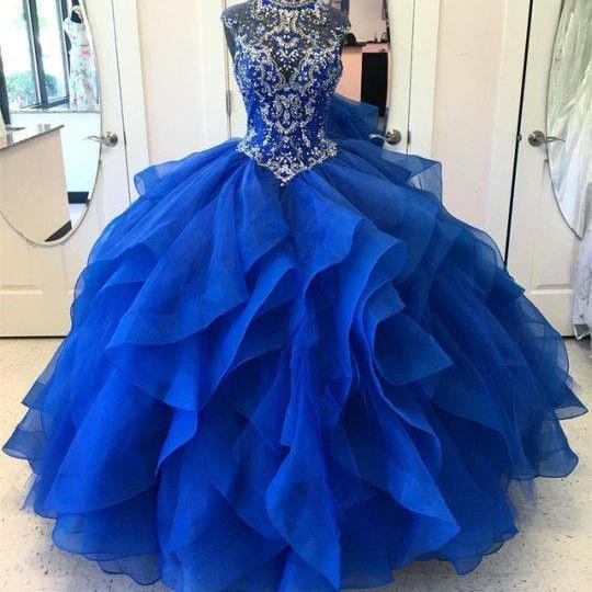 Royal Blue Quinceanera Dress,Strapless Beaded Prom Dress,Tiered Layered Evening Gowns