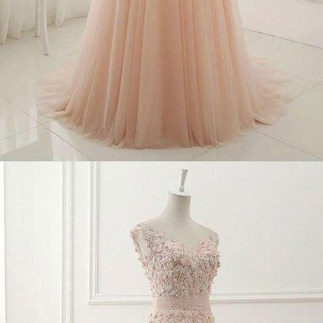 2018 Charming Lace Appiques Prom Dress,Beaded Sleeveless Party Dress,Tulle Sweep Train Evening Gown