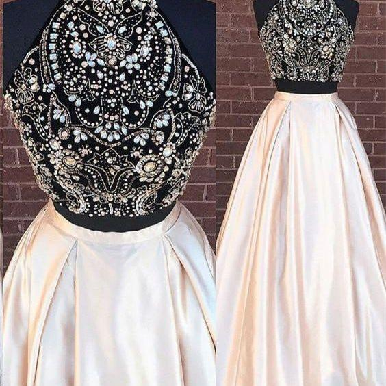 2018 Beading Two Pieces Party Dress,Sparkly Open Back Evening dress, Halt Prom Dresses, Popular Fashion Prom Dress for party