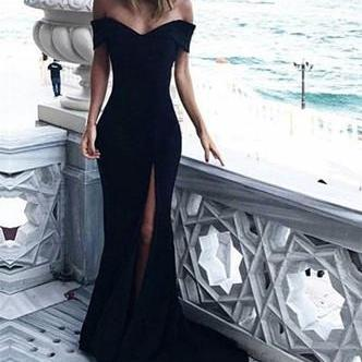 back Charming Mermaid black Prom Dress,Off Shoulder Party Dress,Sweep high slit Train Evening Gown dress