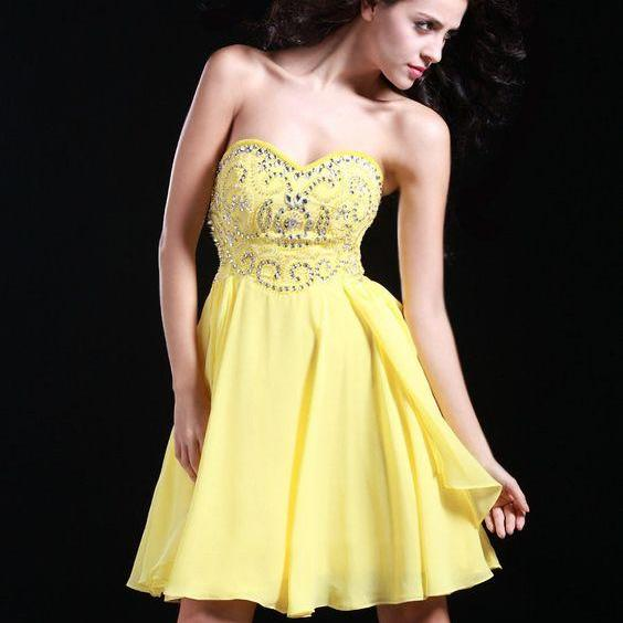 Poly USA yellow Short A Line strapless Chiffon Prom Dress beading Sheer Neck