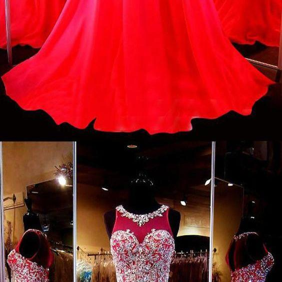 Two Piece Scoop Sleeveless Red Chiffon Prom Dresses With Beading