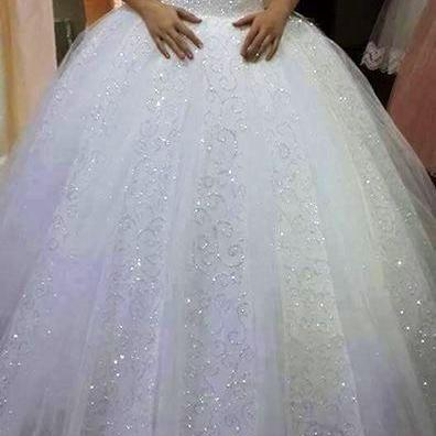 charming Tulle Ball wedding, appliques Gown Wedding Dress,Sparkly Pearls Long Wedding Dresses,White Bridal Dress