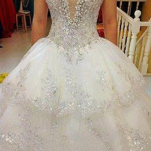 charming Tulle Ball strapless wedding ,luxury appliques Gown Wedding Dress,Sparkly Pearls Long Wedding Dresses,White Bridal Dress