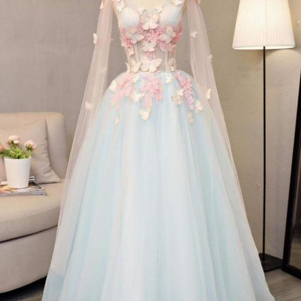 Sky blue tulle ,long A-line prom dress, long V neck ,butterfly party dress,Party Dress,Sexy Custom Made ,New Fashion