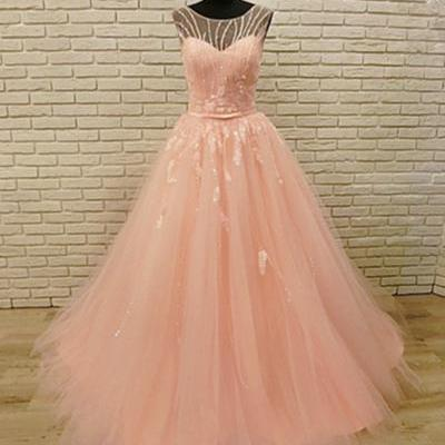Pink tulle ,open back, long crystal, halter sweet prom dress,Sexy Custom Made ,New Fashion
