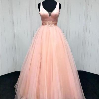 Pink tulle ,customize long sweet prom dress, long A-line graduation dress,Sexy Custom Made ,New Fashion