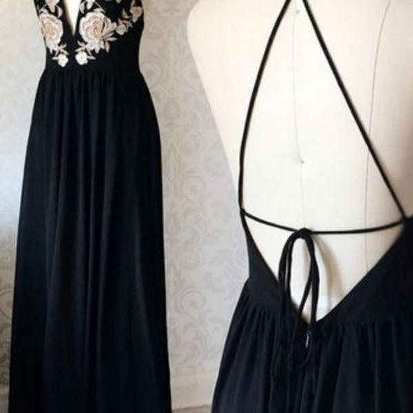 Elegant black chiffon ,embroidery lace appliqués ,long backless evening dresses,Sexy Custom Made ,New Fashion