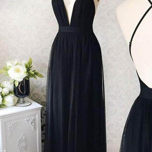 Cute black chiffon, deep V neck, long backless graduation dress,spaghetti strap ,Sexy Custom Made ,New Fashion