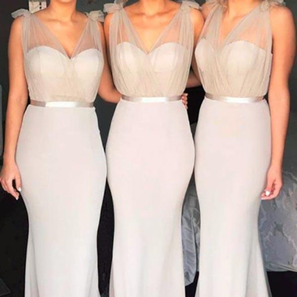 Mermaid V-Neck ,Sweep Train, Light Grey Bridesmaid Dress with Sash ,Prom Dresses Sexy Custom Made ,New Fashion