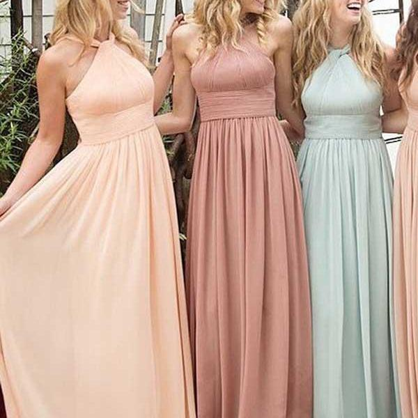Elegant Halter ,Ruffles Empire ,Floor-length, Chiffon Bridesmaid Dresses ,Prom Dresses  Sexy Custom Made ,New Fashion