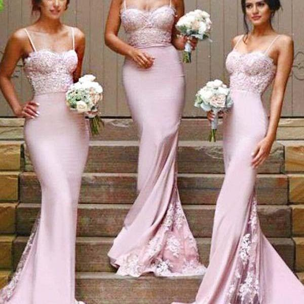 Gorgeous Spaghetti ,Mermaid Long Bridesmaid Dress With Court Train ,Long Bridesmaid Dresses for Bridal Party,Sexy Custom Made ,New Fashion