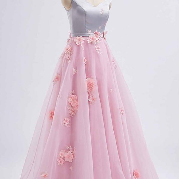 Pink tulle V neck ,long 3D lace appliqué ,spring prom dress, long graduation dress, Chic Long Prom Dresses ,2018 New Fashion,Custom Made