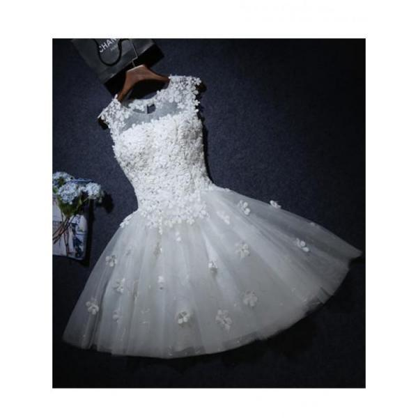 Cheap Nice White Short Homecoming Party Dress With Lace Up Beaded/Beading Mini Dresses ,Sexy Party Dress,Custom Made Evening Dress