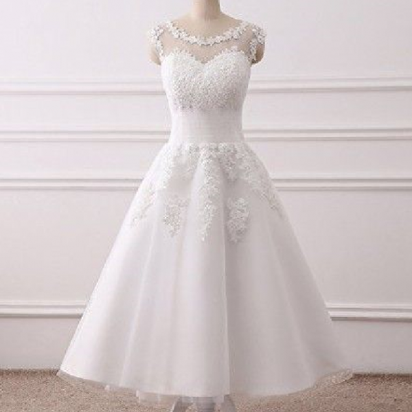 WOMEN'S ELEGANT SHEER VINTAGE TEA LENGTH LACE WEDDING DRESS FOR BRIDE
